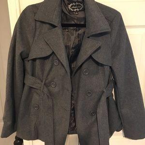 Ambiance pea coat like new. Dark grey charcoal